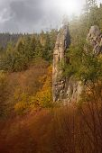 The Granite Rock Town Of Svatoš Rocks / Svatosske Skaly.traditional Cruise Place. National Nature Mo poster
