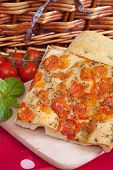 image of nic  - Slices of Typical italian focaccia bread like pizza - JPG