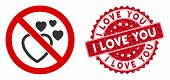 Vector No Love Heart Icon And Rubber Round Stamp Seal With I Love You Text. Flat No Love Heart Icon  poster