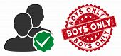Vector Boys Only Icon And Rubber Round Stamp Seal With Boys Only Phrase. Flat Boys Only Icon Is Isol poster