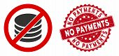 Vector No Payment Icon And Corroded Round Stamp Seal With No Payments Phrase. Flat No Payment Icon I poster