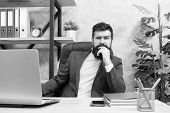 Concentration And Focus. Man Bearded Boss Sit Office With Laptop. Manager Solving Business Problems. poster