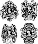 stock photo of cameos  - Set of decorative antique cameos with woman portrait in profile - JPG