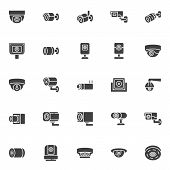Cctv Camera Vector Icons Set, Modern Solid Symbol Collection, Filled Style Pictogram Pack. Signs, Lo poster