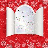 Christmas Advent Calendar Doors Open And Christmas Light Bulbs. White Snow, Garlands Of Luminous Bul poster