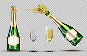 Champagne Explosion Bottle And Wineglasses Set. Closed And Open Bubbly Flasks With Glasses, Sparklin poster