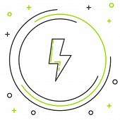 Black And Green Line Lightning Bolt Icon Isolated On White Background. Flash Sign. Charge Flash Icon poster