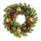 Christmas Composition With Wreath Made Of Christmas Tree Branches, Bows, Beads And Pine Cones With R poster