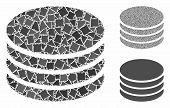 Coin Stack Mosaic Of Ragged Items In Different Sizes And Shades, Based On Coin Stack Icon. Vector Ra poster