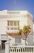 Fragment Of The Penthouse With Garden Against Blue Sky. Typical Mansions Of Malta. Authentic Residen poster