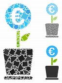Euro Business Project Plant Mosaic Of Inequal Elements In Variable Sizes And Shades, Based On Euro B poster