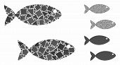 Fish Pair Composition Of Uneven Parts In Various Sizes And Color Tints, Based On Fish Pair Icon. Vec poster