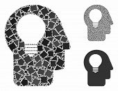 Head Idea Mosaic Of Ragged Items In Different Sizes And Shades, Based On Head Idea Icon. Vector Trem poster