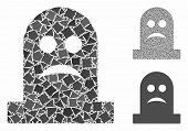 Sad Tomb Composition Of Abrupt Pieces In Variable Sizes And Shades, Based On Sad Tomb Icon. Vector B poster