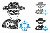 Social Hacker Composition Of Rough Items In Variable Sizes And Shades, Based On Social Hacker Icon.  poster