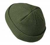 Docker Knitted Dark Green Hat Isolated On White Background. Fashionable Rapper Hat. Hat Fisherman Ba poster