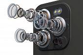 Multi-camera Smartphone. Disassembled Smartphone Cameras, Modern Lens Of Smartphone Cameras Structur poster
