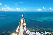 Aerial View Nearst Of Famous 7 Mile Bridge In The Way To Key West, Florida Keys, United States. Grea poster