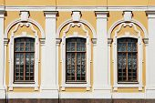 image of pilaster  - Classic palace windows decorated with fine relief details - JPG
