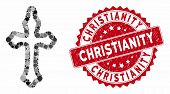 Mosaic Christian Cross And Grunge Stamp Watermark With Christianity Phrase. Mosaic Vector Is Designe poster