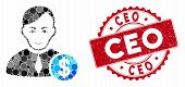 Mosaic Commercial Loyer And Rubber Stamp Seal With Ceo Text. Mosaic Vector Is Formed With Commercial poster