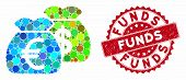 Mosaic Funds And Rubber Stamp Seal With Funds Phrase. Mosaic Vector Is Formed With Funds Icon And Wi poster