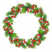 Merry Christmas Wreath Illustration With Red Ribbon And Bow - Merry Christmas Holly Berry Wreath.chr poster