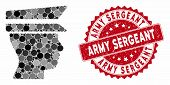 Mosaic Officer Head And Rubber Stamp Watermark With Army Sergeant Phrase. Mosaic Vector Is Composed  poster