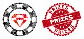 Mosaic Ruby Casino Chip And Grunge Stamp Watermark With Prizes Caption. Mosaic Vector Is Formed With poster