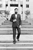 Conquer Business World. Office Worker Confidently Step On Stairs. Bearded Man Going To Work. Busines poster
