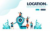 Vector Illustration Looking For Location. People Looking For Locations To Send Idea Box. Location Pi poster