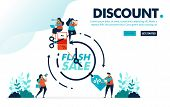Vector Illustration Discount Flash Sale. People Fighting And Claiming Discount Voucher Within A Peri poster