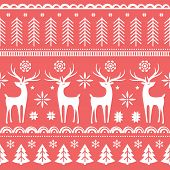 Beautiful Seamless Pattern With Gorgeous Deer And Snowflake. Winter Background For Christmas Or New  poster