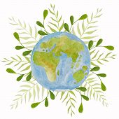 Planet Earth On A Background Of Green Plants. Green Planet. Earth Day. Save The Planet Green. Hand D poster