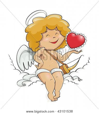 angel cupid for valentine's day vector illustration EPS10. Transparent objects and opacity masks used for shadows and lights drawing. Vector Illustration.