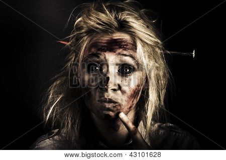 Evil Dead Female Zombie With Monster Headache