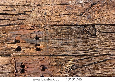 Pile Of Track Sleeper Wooden Background