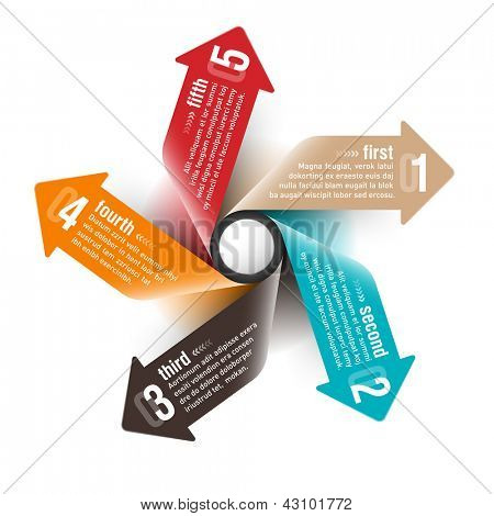 Five directions arrows design template. Fully editable vector.