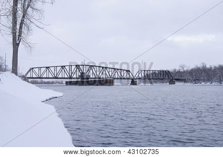 South Saint Paul Swing Bridge On Mississippi River
