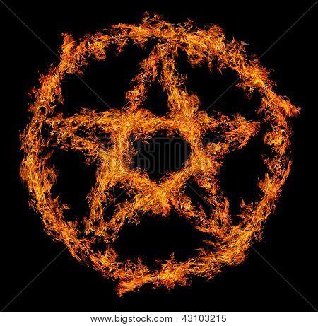 orange flame pentagram isolated on black background
