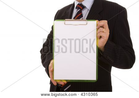 Holding A Blank Clipboard