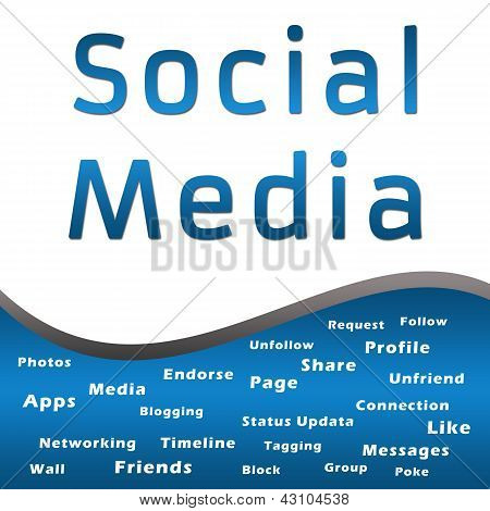 Social Media with Keywords - Blue
