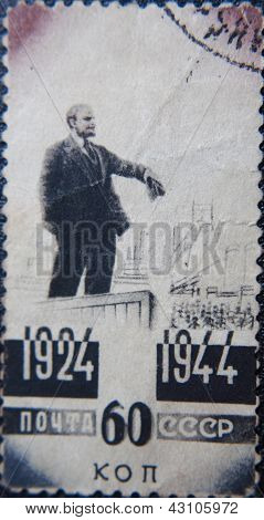 RUSSIA - CIRCA 1944: stamp printed by USSR shows sculpture portrait of socialist lider Lenin