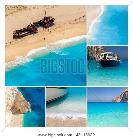 Navaggio Beach Collage, Zakynthos Island, Greece