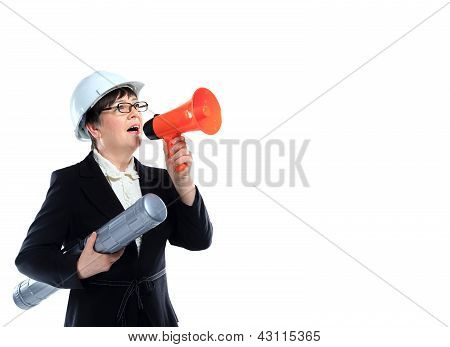 Mature woman carrying building plans and shout in megaphone
