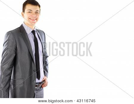 Portrait of happy smiling young businessman isolated on white background