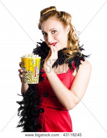 Glamorous Woman Holding Popcorn