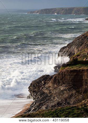Cornwall Coast Winter Waves