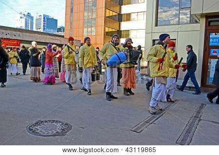 Kiev - Mar 05: Khrisna Religion People With Drum And Harmonic In Kiev, Ukraine On March 05, 2013.