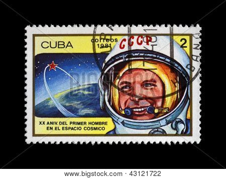 Cuba - Circa 1981: Canceled Stamp Printed In Cuba, Shows First Russian, Soviet Astronaut Yury Gagar